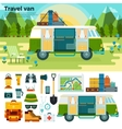 Travel van in the forest near mountains vector image