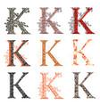 various combination fishnet letter k vector image vector image