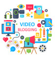 video blogging flat concept vector image vector image