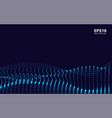 waves with particles on dark background dot vector image vector image
