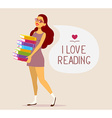 young girl in dress with pile of books on vector image vector image