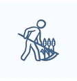 Man mowing grass with scythe sketch icon vector image