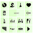 14 music icons vector image vector image