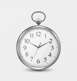 3d realistic metal silver old vintage pocket watch vector image