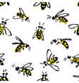 bees hand drawing seamless pattern vector image