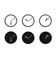 black and white wall office clock icon set design vector image