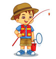 boy ready for fishing on the lake vector image vector image