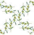 branches of olive tree seamless pattern green vector image vector image