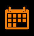 calendar sign orange icon on black vector image