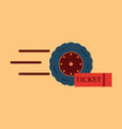 car wheel icon with ticket vector image