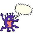 cartoon weird little alien with speech bubble vector image
