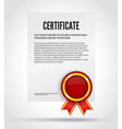 certificate with red award label with ribbon white vector image