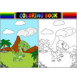 coloring book with tyrannosaurus cartoon vector image vector image