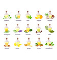 cosmetic essential oil bottle with herb fruit vector image