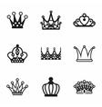 Crown icon set vector image vector image