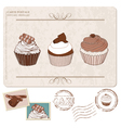 cupcakes postcard with stamps vector image vector image