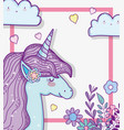 cute unicorn with hearts and branches leaves with vector image