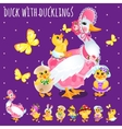 Duck with ducklings big funny family vector image vector image