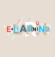elearning online education creative word over vector image vector image