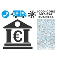 Euro Bank Building Icon with 1000 Medical Business vector image vector image
