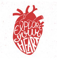 explore your heart in anatomic heart on vintage vector image vector image