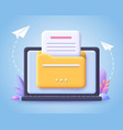 file transfer concept yellow folder with document vector image vector image
