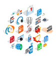 files icons set isometric style vector image vector image
