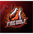 fire wolf esport logo design vector image
