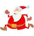 funny running santa claus cartoon character vector image vector image
