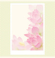 greeting card with delicate lotus water flowers vector image