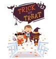 Halloween background with kids vector image vector image