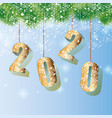 happy 2020 new year card with fir branch vector image