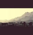 horizontal farm pets in background mountains vector image