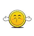 Kissing closed eyes coin cartoon character vector image