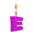 letter e birthday font letter and candle vector image vector image