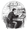 man sitting at desk writing in journal or person vector image vector image