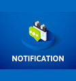 notification isometric icon isolated on color vector image