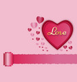 paper art of love and red heart with pink vector image vector image