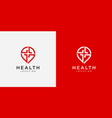 pin health with plus logo design vector image