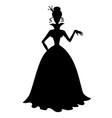 princess silhouette in a long dress vector image