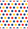 red blue yellow polka dots on white background vector image vector image