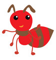 red fat ant on white background vector image vector image