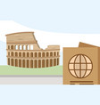 roman coliseum passport tourist vacation travel vector image