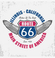 route 66 t-shirt with wing vector image vector image