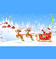 santa on a sleigh with deers welcomes vector image