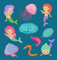 sea life cartoon character animals and mermaids vector image vector image