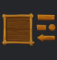 set cartoon wood assets interface and buttons vector image vector image