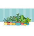 set of cute houseplants cartoons vector image vector image