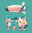 spaceman family in spacesuit with spaceship vector image