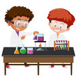 students experiment in the lab vector image